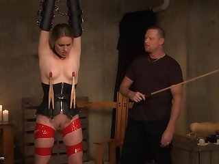 Tied up babe in arms gets their way nipples clamped before she is pleasured