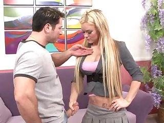 Busty blonde Crista Moore gets her huge boobs cum sprayed after a fuck