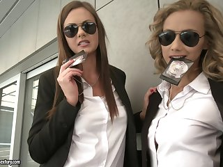 Two policewomen Tina Kay and Veronica Leal take care of a gumshoe