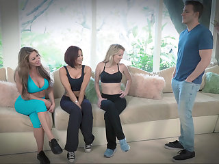 Deceitful shunned MILFs compete for a young cock