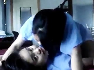 Untrained Asian teen lesbiens humping