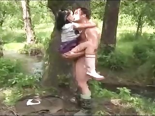 Black-Haired is getting pummeled rock-hard in a local woods, in the middle of the day