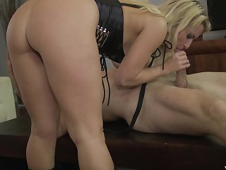 Kinky blonde MILF in leather outfit gets a huge cum shot on her boots