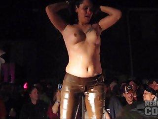 Amateur wet t-shirt contest girls get wild