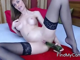 She's a very naughty girl first get a dildo in her ass and plays solo anal game