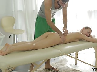After giving BJ during massage babe with juicy ass Sabrina Moore rides dick