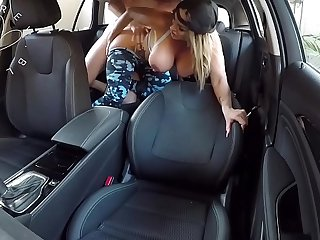 during the ride hot blonde takes her clothes off and jumps on a hard cock