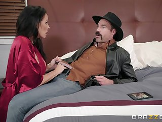 Reagan Foxx ramming a hard friend's dick before and after a blowjob