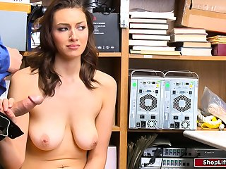 Horny officer fucking a brunette shoplifter in his office