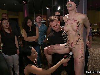 Dark Haired Lady bitch fucks in pool hall bondage