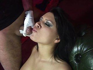 Classy brunette Eva Angelina in fishnet enjos having erotic sex