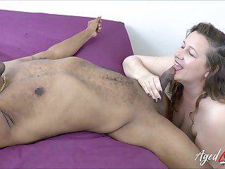 Black gigolo fucks oversize white woman Eve and cums in her puffy snatch