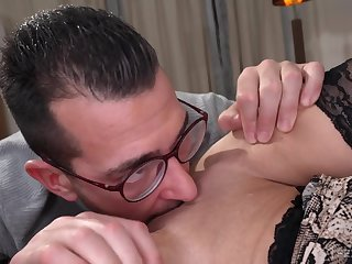 Lusty Mature Grandma Tiffany Rousso fucked in eyeglasses and sexy lingerie