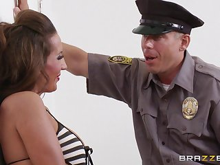 Naughty officer bangs hot female fugitive Richelle Ryan on the floor