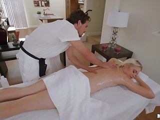 Nude erotic massage makes young blonde to crave for cock