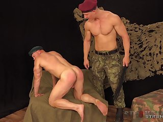 Muscular army men are having a blast ass fucking one another