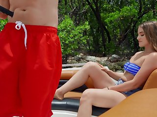 Lustful moment the horny girlfriend falls for the pool guy