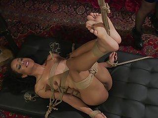 Submissive ebony bitch roughly fucked in bondage XXX