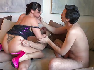 Aroused mommy fucked by the step son and one of his friends