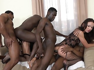 Full anal gang bang for two amateur babes on fire