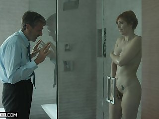 Old creepy man spying on a hot MILF with big tits in the shower