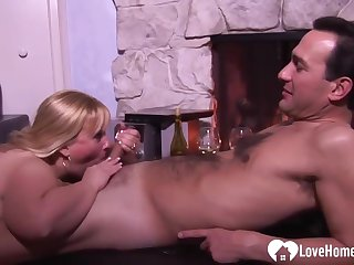 Fat blonde woman likes to spice up her dinner with a casual fuck after that