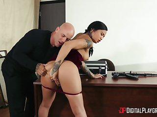 Asian beauty bends over the desk to fuck with her boss