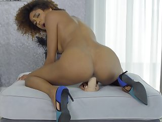 Aroused ebony with curly hair, naughty toy porn