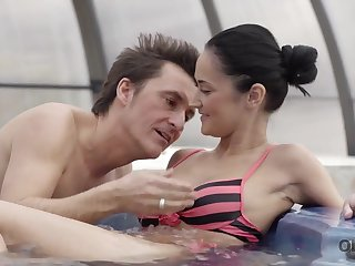 Older lover invites gentle girl to his house with jacuzzi