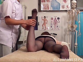 Crazy fucking on the massage table with a natural tits Japanese