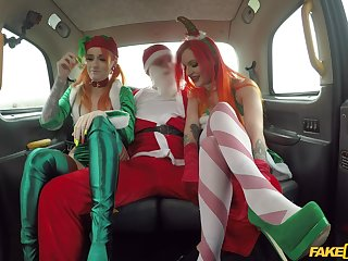 Christmas threeway in a cab with festive gals Alexxa Vice and Azura Alii