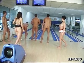 Wild fucking on the floor with German wives in the bowling alley