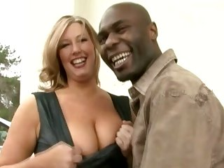 Big racked MILFie lady lets black stud eat her wet pussy well