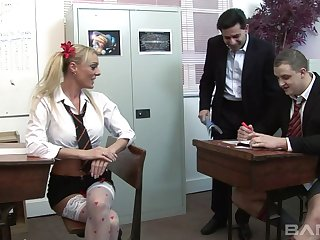 Wild group sex in the office with two provocative hookers