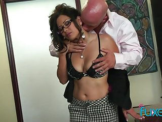 Juggy Asian secretary Lexi Lore gets intimate with her bald headed chief