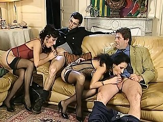 Masturbation before vintage group sex