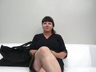 Round dark-haired with ginormous, all-natural bosoms, Zdena throated a stranger's lollipop during a porno vid audition