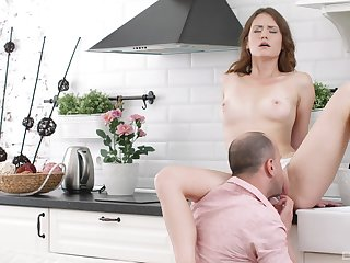 Romantic blowjob and nude posing before getting step daddy to fuck her ass