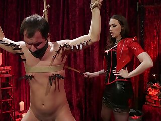 Dirty dude tied up and gets his ass stretched by Chanel Preston