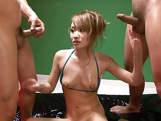 Luna goes wild with oil in a japanese orgy