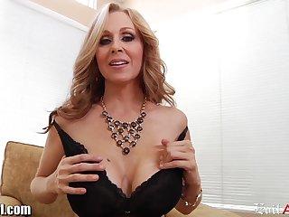 Stunning mature woman over 50 Julia Ann sucks Mark Wood's cock