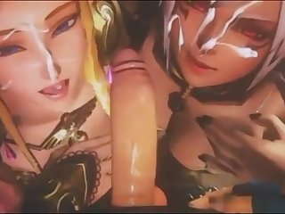 Two yuppy cute princesses sharing a big cock and getting both rewarded