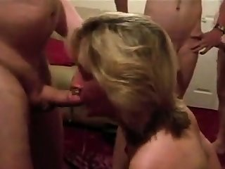 Dirty British wed sucks husbands friends
