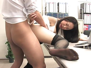 Assistant's fur covered fuckbox dribbling out with jism after office penetrate