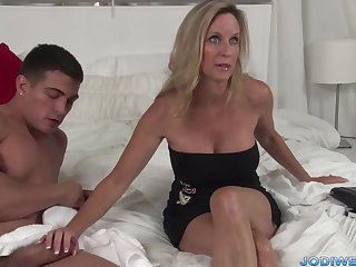 Provocative Taut Mommy Smooches Her Junior Trainer With Humungous Man Sausage