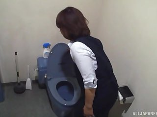 Hardcore toilet blowjob from Japanese amateur MILF maid