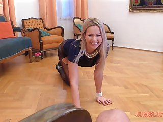 Elegant classy blonde whore Nikky Dream blows cock in a blue dress