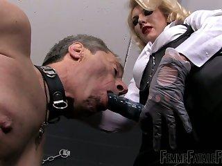 Dominant auburn slut Mistress Akella gonna use strapon to punish dude