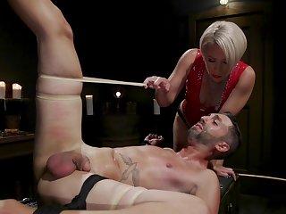 Brutal BDSM femdom with a big ass mature slut