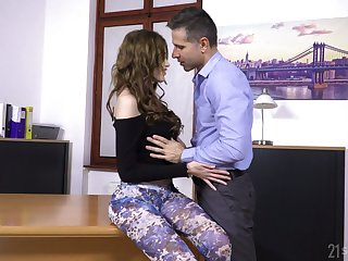 Lustful secretary Gisha Forza is fucked anally right on the boss's table